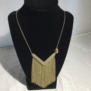 Canvas Chevron Chain Fringe Necklace